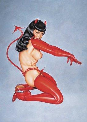 Красный костюм `дьяволенок` трусики с хвостиком, чулки, перчатки и рожки