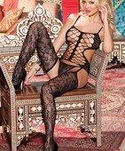 Комплект 3 В1 топ ажурная сетка соедененный с чулками с цветочным арнаментом+ стринги - Секс-шоп Мир Оргазма