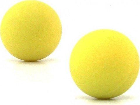 Два шарика, металлические с силиконовым покрытием, желтый неон, 20 мм