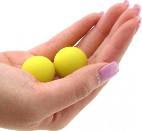 Два шарика, металлические с силиконовым покрытием, желтый неон, 20 мм, фото 4