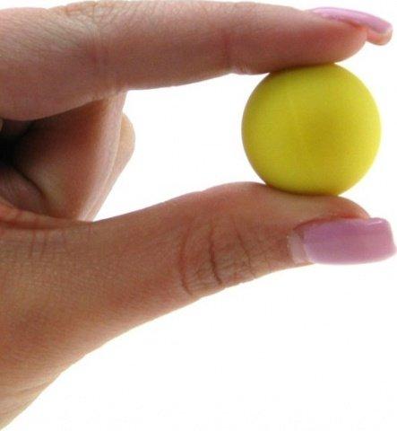 Два шарика, металлические с силиконовым покрытием, желтый неон, 20 мм, фото 5