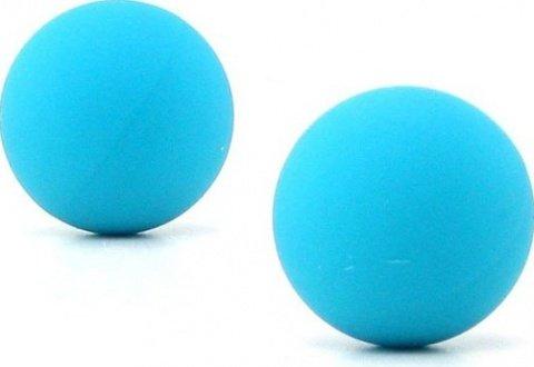 Два шарика, металлические с силиконовым покрытием, голубой неон, 20 мм