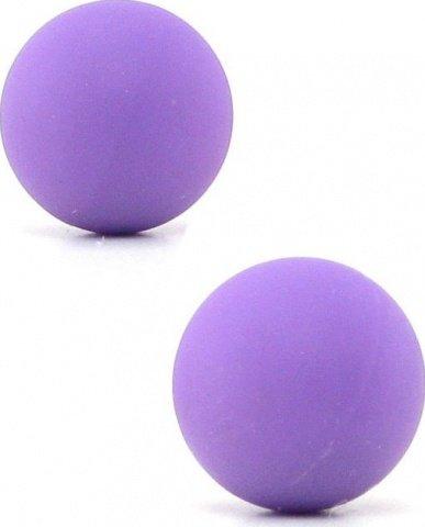 Два шарика, металлические с силиконовым покрытием, фиолетовый неон, 20 мм