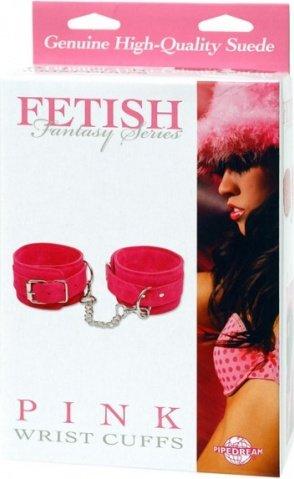 Наручники замшевые pink - wrist cuffs розовые, фото 3