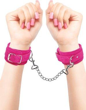 Наручники замшевые pink - wrist cuffs розовые, фото 5