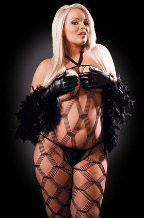 Кэтсьюит Dream Weaver с боа, стрингами и перчатками, черный, Diva size, фото 2