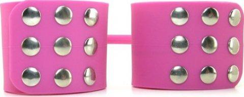 Фиксаторы Silicone Cuffs для рук и ног, силикон, розовые, фото 6