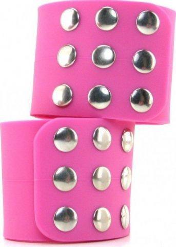 Фиксаторы Silicone Cuffs для рук и ног, силикон, розовые, фото 9