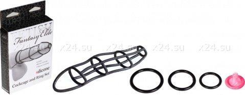 Набор Cockcage and Ring Set: насадка и эрекционные кольца на пенис, черный 13 см, фото 2