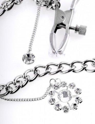 Регулируемые зажимы для сосков с украшением Crystal Nipple Clamps, фото 5