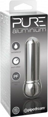 Вибромассажер pure aluminium - silver small рельефный серебристый, фото 2