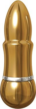 Вибромассажер pure aluminium - gold small рельефный золотистый, фото 2