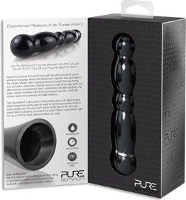 Вибромассажер pure aluminium - black medium рельефный черный, фото 3