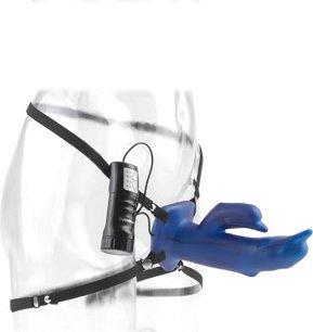 Фалопротез с креплением w/p dolphin howllow strap on с вибрацией синий 11 см, фото 6