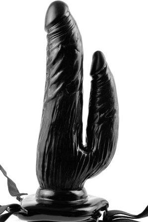 Фалоиммитатор с креплением vibrating dual penetrator с вибрацией женский черный 17 см, фото 4