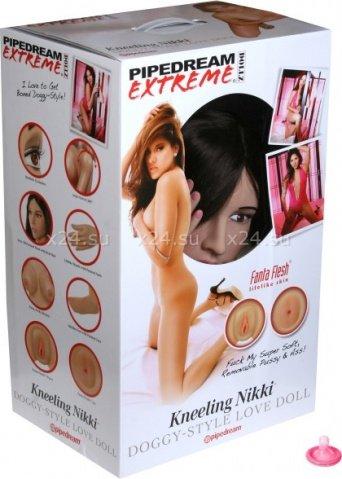 Кукла надувная Kneeling Nikki, реалистичная вагина и анус, реалистичные соски, волосы, ручки, ножки, фото 4