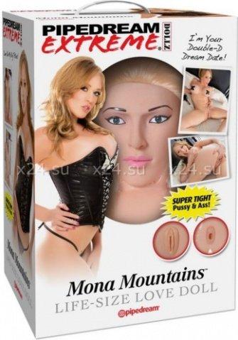Кукла надувная Mona Mountains, реалистичная вагина и анус, реалистичные соски, волосы, фото 3