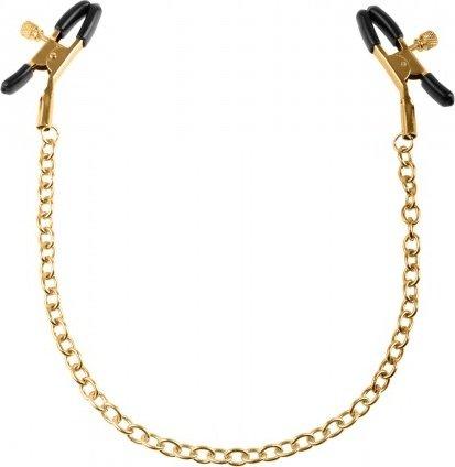 Золотые зажимы на соски с цепью Nipple Clamps, фото 2