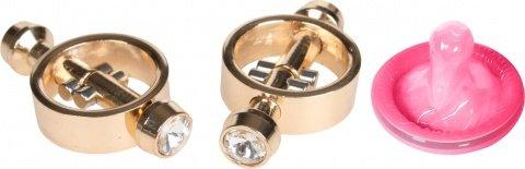 Золотые клипсы с кристаллами на соски Magnetic Clamps, фото 2