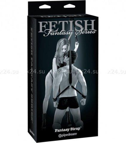Фиксатор Fantasy Strap с наручниками и креплением для потолка черный