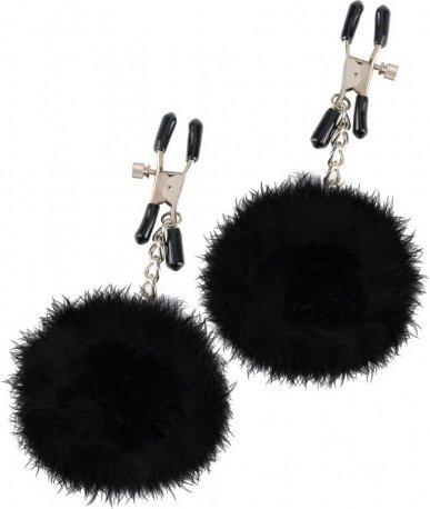 Зажимы на соски pom pom nipple clamps с пухом черные, фото 2