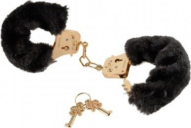 Наручники металлические затянутые мехом цвет черный, серия: Gold Deluxe Furry Cuffs