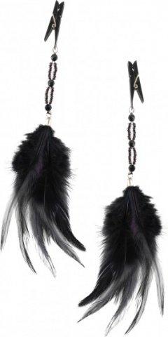 Зажимы для сосков Fancy Feather Clamps с перьми черные