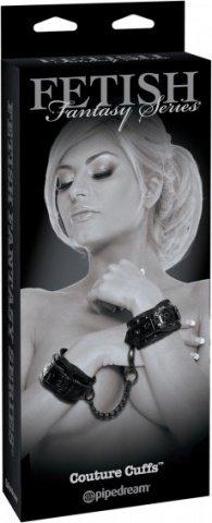 Прочные лакированные фиксаторы для рук с цепью Couture Cuffs, фото 5