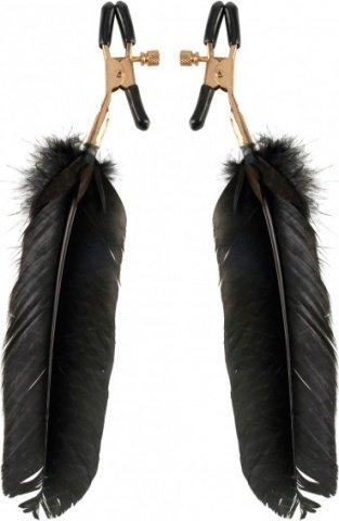 Зажимы для сосков Feather Nipple Clamps с перьями черные с золотом