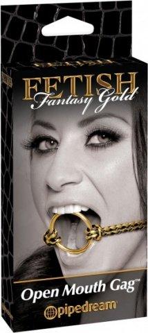 Кляп рамка Open Mouth Gag черный с золотом, фото 5