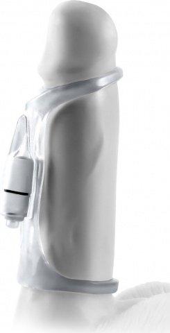 Вибронасадка 14 см. vibrosling fx - vibrating cock sling прозрачная, фото 5