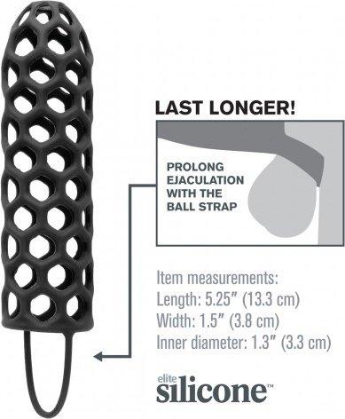 Насадка стимулирующая Silicone Warrior Cock Cage с кольцом на мошонку черная, фото 2