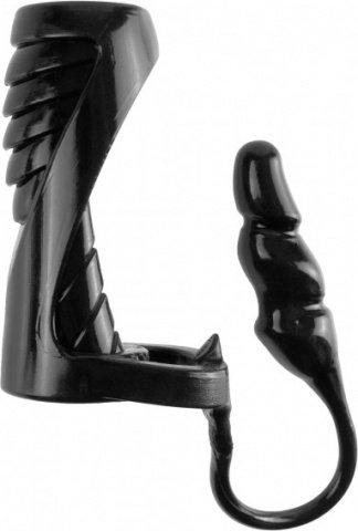 Насадка с подхватом мошонки с анальной пробкой черная