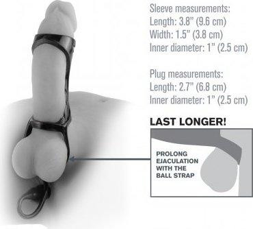 Насадка с подхватом мошонки с анальной пробкой черная, фото 3