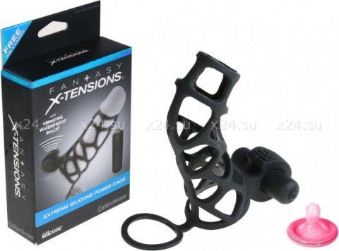 Насадка стимулирующая Extreme Silicone Power Cage с кольцом на мошонку черная с вибрацией