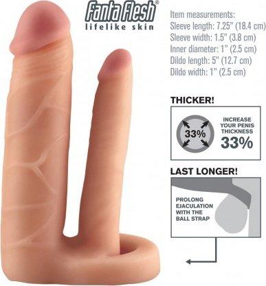 Насадка в форме пениса с анальнымфаллосом Fantasy X-tensions Double Trouble Extension телесная 18 см, фото 4