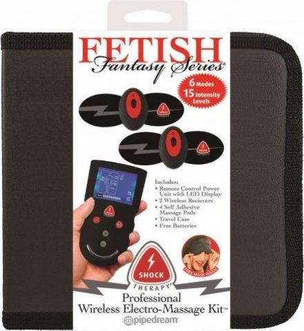 Накладки самоклеющиеся proffesional wireless elektro-massage kit для электростимуляции черные, фото 3
