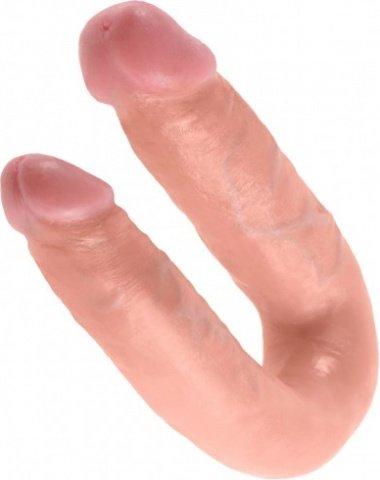 Фаллоимитатор двухсторонний u-shaped medium double trouble средний телесный 35 см, фото 3