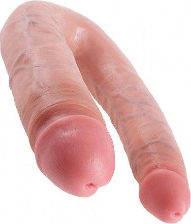 Фаллоимитатор двухсторонний u-shaped large double trouble большой телесный 17 см, фото 5