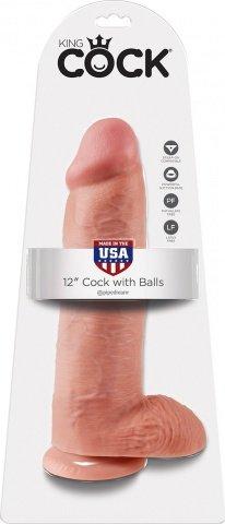 Фаллоимитатор с мошонкой 12 cock with balls на присоске телесный 30 см, фото 2