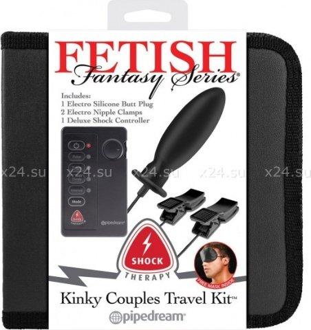 Набор из анальной пробки и зажимов для сосков kinky couples travel kit для электростимуляции черные, фото 4