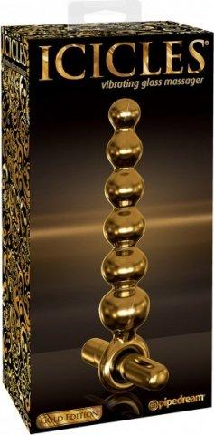 Анальный вибромассажер елочка G06 золотой 18 см, фото 2