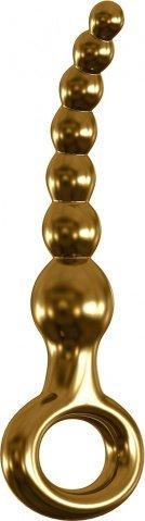 Анальный фаллоимитатор елочка G-Spot и P-Spot G09 золотой 16 см