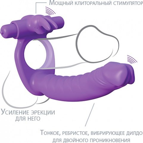 Эрекционное кольцо с анальным фаллоимитатором с клиторальным стимулятором с вибрацией, фото 5
