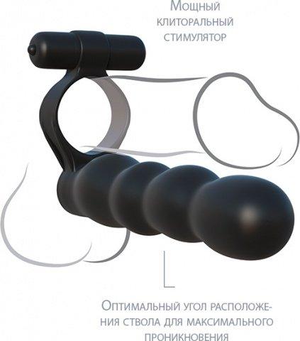 Эрекционное вибро-кольцо с гнущимся анальным стимулятором Posable Partner Double Penetrator, фото 3
