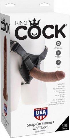 Страпон Harness со съемной насадкой на регулируемых ремнях коричневый King Cock 8, фото 2