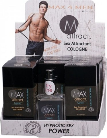 Max attract, hypnotic, sex attractant cologne, display-12 ct
