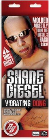 Фаллоимитатор порно звезды shane diesel 10 на присоске с вибрацией, мулат 25 см, фото 2