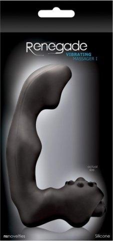 Анатомический вибро-стимулятор renegade vibrating massager малый черный, фото 2