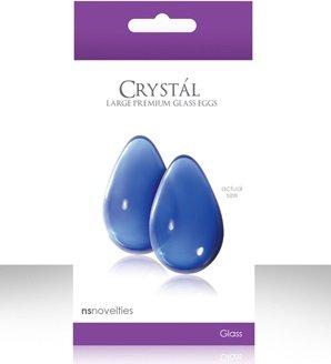 Вагинальные шарики cryst'al kegel eggs из стекла большие голубые, фото 5